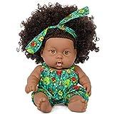 Poupée Afro-américaine réalistes 8 Pouces bébé poupées pour Enfants Jouets pour Enfants (Vert)
