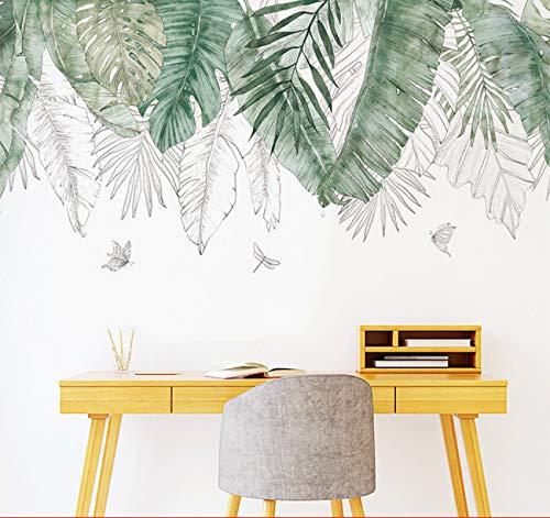 Pegatinas de pared con hojas tropicales nórdicas frescas Sala de estar dormitorio dormitorio dormitorio pegatinas puerta plantas flores decoración de pared