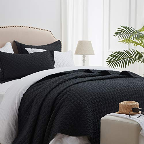 "SunStyle Quilt Set Black Queen Size(90""x96""), Reversible Lightweight Diamond Quilted Design Bedspread, Soft Coverlet for All Season, 3pcs Queen Quilt Bedding Set (1 Quilt, 2 Pillow Shams)"