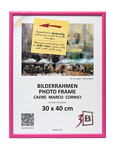 3-B Bilderrahmen ULM 30x40 cm - rosa - Holzrahmen, Fotorahmen, Portraitrahmen mit Plexiglas