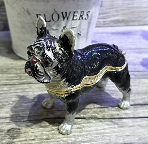 znewlook Animal Decor French Bulldog Trinket Box Bulldog Shape Hand Printed Metal Jewelry Wedding Ring Holder (Black)