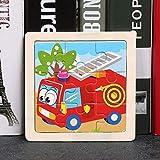 xinyawl Puzzle pour enfants 9 pièces de petite taille en bois 3D pour enfants, bébés, animaux de dessin animé, tangram, pédagogique, camion de pompiers