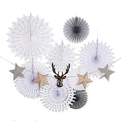 EASY JOY Weihnachtsdeko Kit Papier Deko Weihnachten Accessoires Schneeflocken Fächer Hängendekoration (Braun Weiß)