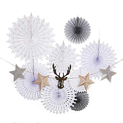 Easy Joy White Christmas Decorations Set, Snowflake Paper Fans Star Deer Garland, Hanging Ceiling Wall Decor Party Supply Photo Back Drop