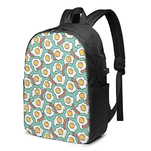 Travel Laptop Backpack, Bacon Breakfast Food Brunch Fried Eggs Travel Laptop Backpack College School Bag Casual Daypack with USB Charging Port