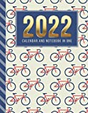 2022 Calendar and Notebook In One: 8.5x11 Monthly Planner with Note Paper Combo / Red Blue Bicycle Pattern - Biking Art / Large Organizer With Whole ... Ruled Lined Sheets / Life Organizing Gift
