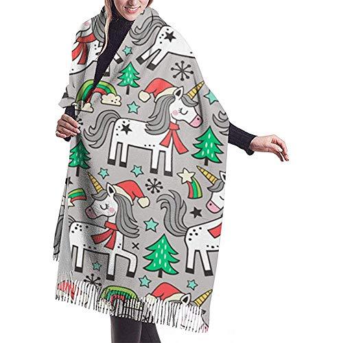 Kerstvakanties regenboogboom krabbels op lichtgrijze sjaal wrap winter warme sjaal cape grote zachte gezellige kasjmier sjaal wrap