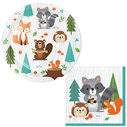TLP Online Woodland Animals Themed Dessert Party Supply Pack for 24 People   Bundle Includes Dessert / Snack Plates and Napkins   Wild One Woodland Animals Design