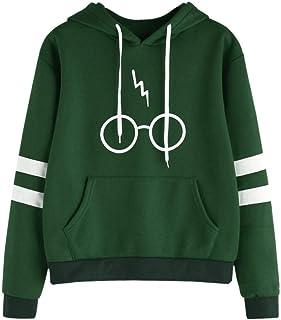 Minetom Mujeres Camisetas Manga Larga Varsity Gafas de Harry Potter Encapuchado Camisa de Entrenamiento Sudaderas Con