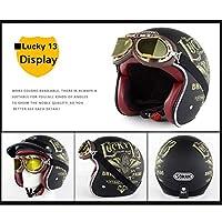 オートバイ用ヘルメット、大人用オープンフェイススタイル3/4ヘルメットDOTバイクハーフヘルメット大人用レトロバイザークラッシュヘルメット、ゴーグル付き XXL