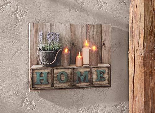 "Dekoleidenschaft LED-Bild ""Home"", flackernde Kerzen, Leindwand auf Keilrahmen, Leuchtbild"