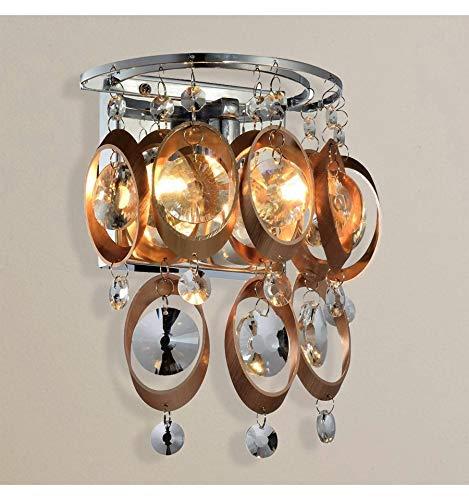 KOSILUM - Applique chargée à pampilles cristal cuivré - Cardiff - Lumière Blanc Chaud Eclairage Salon Chambre Cuisine Couloir - 1 x 40 W - - G9 - IP20