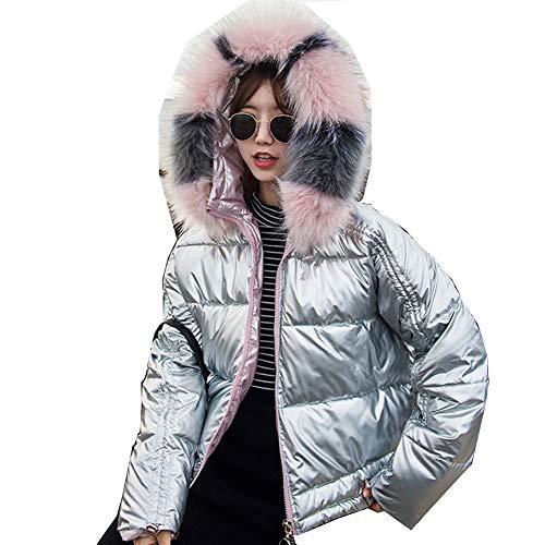 Dames Korte jas met capuchon Faux Fur Glanzende Winter Warm Puffer Jas Slanke Jas