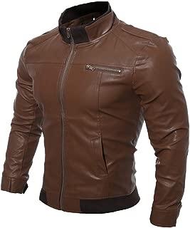 KAAZEE Mens Slimfit Style Rider Stylish Brown Biker Leather Jacket