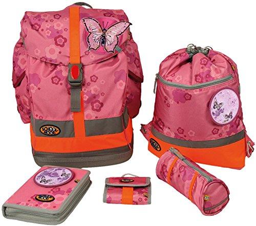 School-Mood Schulrucksack-Set Fly 6-tlg. Schmetterling EMB 62643 pink flower