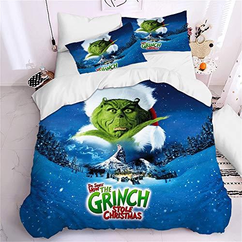 Enhome Duvet Cover Bedding Set for Single Double King Size Bed, 3D Christmas Print Microfiber Duvet Set Quilt Case with Pillowcases (The Grinch1,220x260cm)