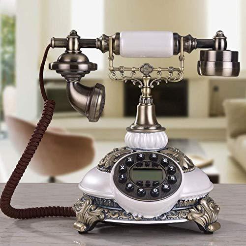 Teléfono nostálgico Vintage con botón pulsador con Cable de Tela Estilo Giratorio Retro Dial Antiguo Teléfono de Oficina y hogar Decoración de Sala de Estar-Acabado de Metal Bronce para el hogar/o