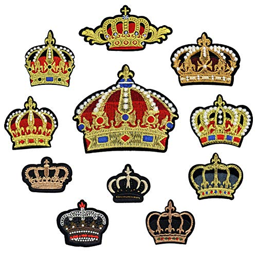 Aufnäher zum Aufbügeln mit Krone, bestickt, zum Aufnähen, für Kleidung, Jacken, Rucksäcke, Jeans, 11 Stück