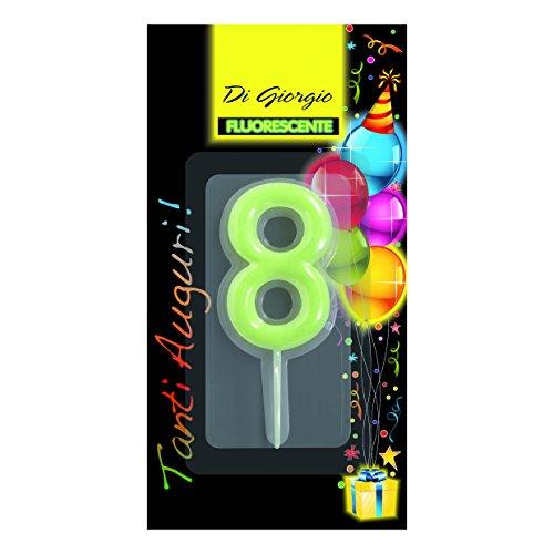 Cereria di Giorgio- Candela di Compleanno Numero 8 Fosforescente con Supporto, 5426_68