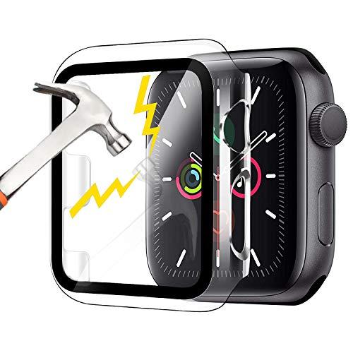 Waflyer Funda para Apple Watch Series 3/2/1 con cristal blindado de 38 mm, protección completa 360°, carcasa rígida de policarbonato para iWatch Serie 3/2/1, 38 mm, transparente