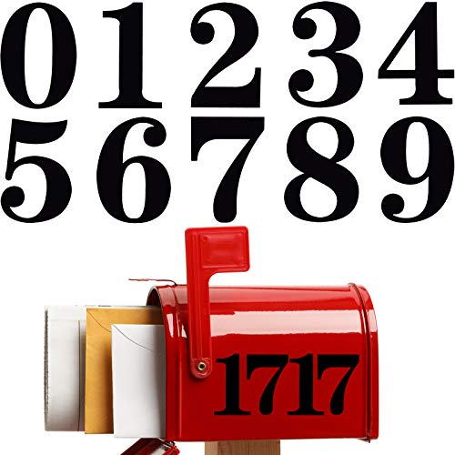 8 Sets Black Mailbox Numbers Sticker 3 Inch Self Adhesive Mailbox Number Decals Waterproof Number Sticker for Mailbox Signs Window Door Cars Trucks Home Business Address Number