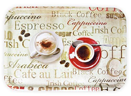 Lashuma Melamin Serviertablett XL, Kaffeetablett aus Italien, Frühstückstablett Eckig, Druck: Espresso, 45x31 cm