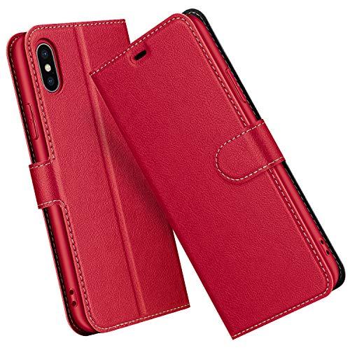 ELESNOW Cover per iPhone XS Max, Flip Custodia in Pelle PU Premium per iPhone XS Max (Rosso)