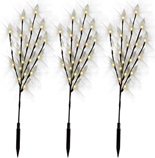 3 Pack Decorative Solar Powered Tree Branch Twig Leaf LED Fairy Lights Beautiful Night Light Outdoor Garden Patio Lamp(Warm White)