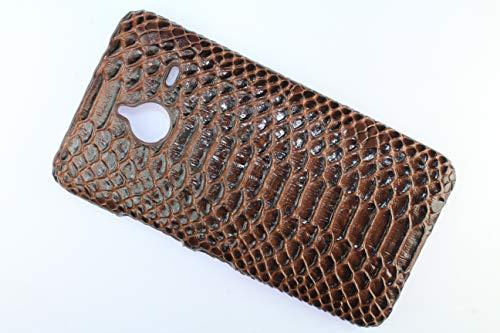 FCS Premium Crocodile Hard Back Case Cover for Microsoft Lumia 640 XL in Matte Finish (Brown)