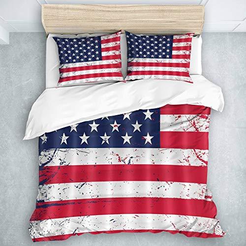 AIMILUX Juego de Funda de edredón y sábanas,Bandera Americana Bandera de Estados Unidos Vintage Día de la Independencia patriótica Día de los caídos,1(200 x 200cm)+2(50x80cm)