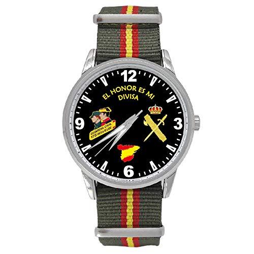 Reloj Guardia Civil Sumergible Esfera Negra Correa Bandera España Verde