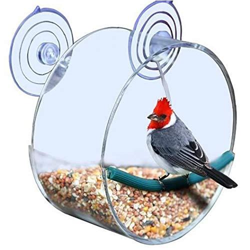 DierCosy Bird Feeder Plexiglas Vogelkäfig Hanging Bird Feeder Einzigartige Runde Voliere Mit Starken Saugnäpfen