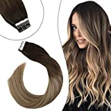 Ugeat Remy Tape in Hair Extensions Silky Straight Glue in Skin Weft Band Balayage Marrón a Rubio Extensiones de Pelo Natural Castano Oscuro #3/8/22 12' 30g/set