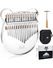 AKLOT Kalimba 17 Keys Transparent Akryl Panda Tum Piano Not Snidad Starter Finger Piano med Kalimba Case Tune Hammer Study Booklet Stickers