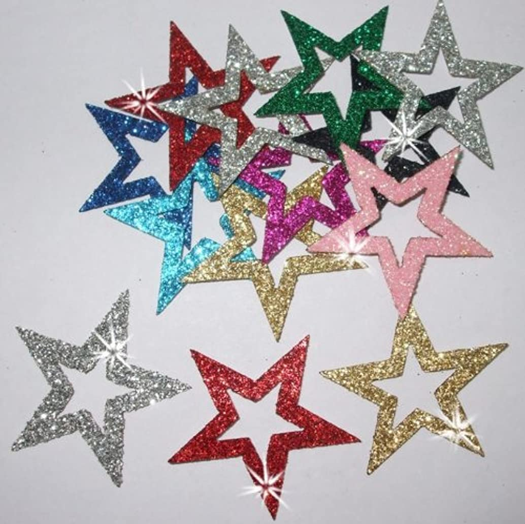 36 Mix Colour Fabric Glitter 35mm Star Outline Iron-On Fabric Transfer