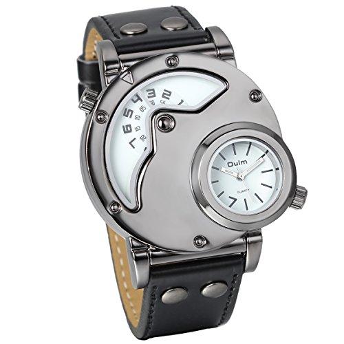 JewelryWe Herren Armbanduhr, Leder Legierung, Elegant Casual Analog Quarz Sportuhr Armband Uhr mit Zwei Anzeigetafeln, Weiss Zifferblatt