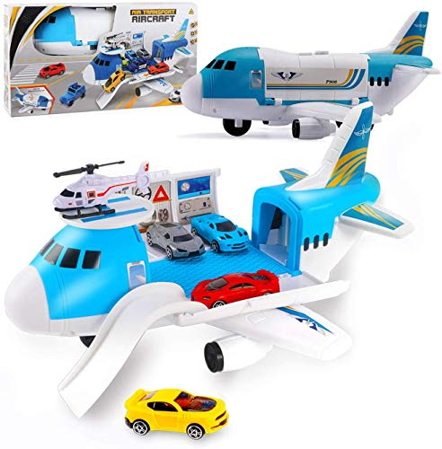 FiGoal Airplane Toys Set Transport Cargo Airplane Car Toy Play Set, Educational Vehicle Airplane Car Set for 3 4 5 Years Old Boys and Girls Easter Party Favors