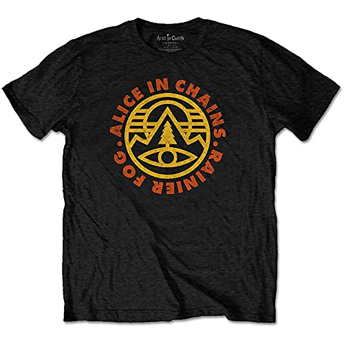 Rock Off Alice in Chains T Shirt Pine Emblem Band Logo Nuovo Ufficiale Uomo Size XL