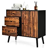 Tangkula Retro Storage Cabinet, Wood Floor Storage Cabinet with 3 Drawers and 1 Cabinet w/Adjustable Shelf, Accent Cabinet for Living Room Bedroom Entryway Home Office, Rustic Brown