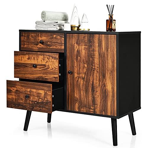 CASART Vintage Storage Cabinet, Wooden Storage Cupboard with 3 Drawer and 1 Door, Industrial Floor Standing Sideboard for Home Office
