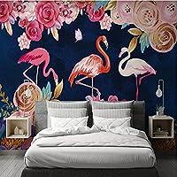 壁画の手描きの植物の花フラミンゴ3 dの壁紙寝室の背景の壁の装飾壁絵画ロール-350 * 245cm