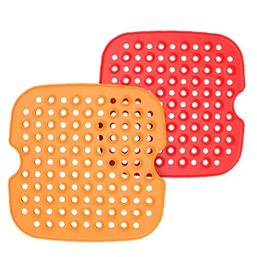 Silicona Aire Fryer Liner No-Stick Aire Fryer Cesta Mat Pad Reemplazo 2pcs, Freidora eléctrica