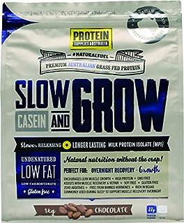 Protein Supplies Australia Slow and Grow Casein Powder, Chocolate 1 kg,, Chocolate 1 kilograms