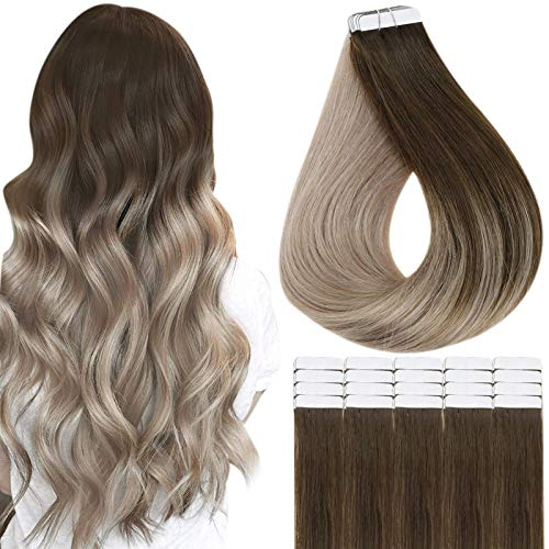 Fshine Tape in Hair Extensions 18 Inch Color 4 Medium Brown Fading to 8 Ash Blonde Ombre Tape in Extensions Remy Human Hair Extensions Tape in Blonde 20 Pcs 50 Gram