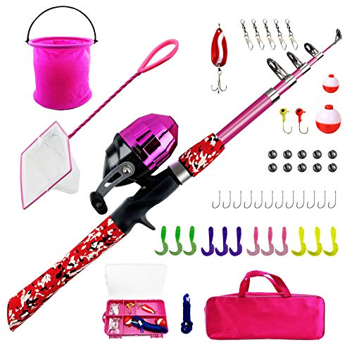 WIDDEN Kids Fishing Pole Full Kits Portable Telescopic Kids Fishing Rod and Reel Combos with Tackle Box, Travel Bag for Girls, Boys, Youth