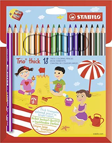 Scopri offerta per Matita colorata triangolare - STABILO Trio thick - Astuccio da 18 + temperino - Colori assortiti