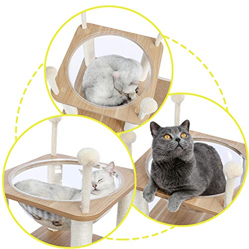 PAWZ Road Modern Cat Tree, Cat Sky Castle with 2 Cozy Condos, Large Space Capsule Nest and Interactive Spring Balls