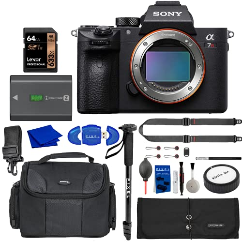 Sony Alpha 7R III Mirrorless Digital Camera with Memory Card, Extra Battery, Peak Design Strap, Water Resistant Bag, Accessory Rollup, Monopod + More   Sony a7R III (Sony Authorized with USA Warranty)