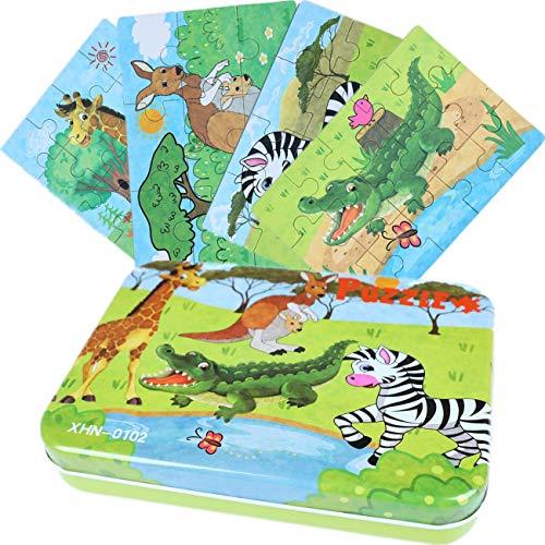 DIKER Jigsaw Wooden Puzzles Rompecabezas de cebra puzzle animales Rompecabezas de la granja Caja de Rompecabezas de Metal regalo Preescolar de Aprendizaje temprano para niños (Vistoso)