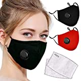 2Pcs Reusable Cotton with 2 Activated Carbon Filters Meltblown Non-Woven Cloth 5 Layers Filters for Women Men Breathable Protection (Black+Red)